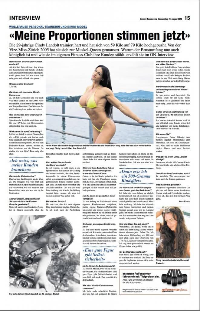 Cindy Landolt im Interview mit Obersee Nachrichten Seite 2 s